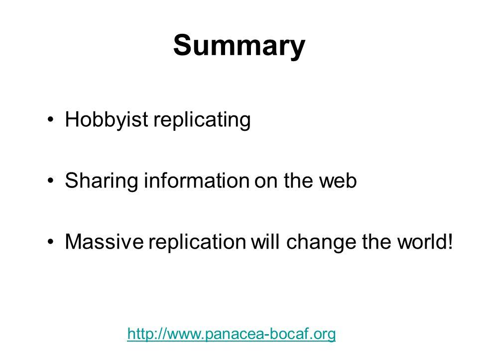 Summary Hobbyist replicating Sharing information on the web Massive replication will change the world.