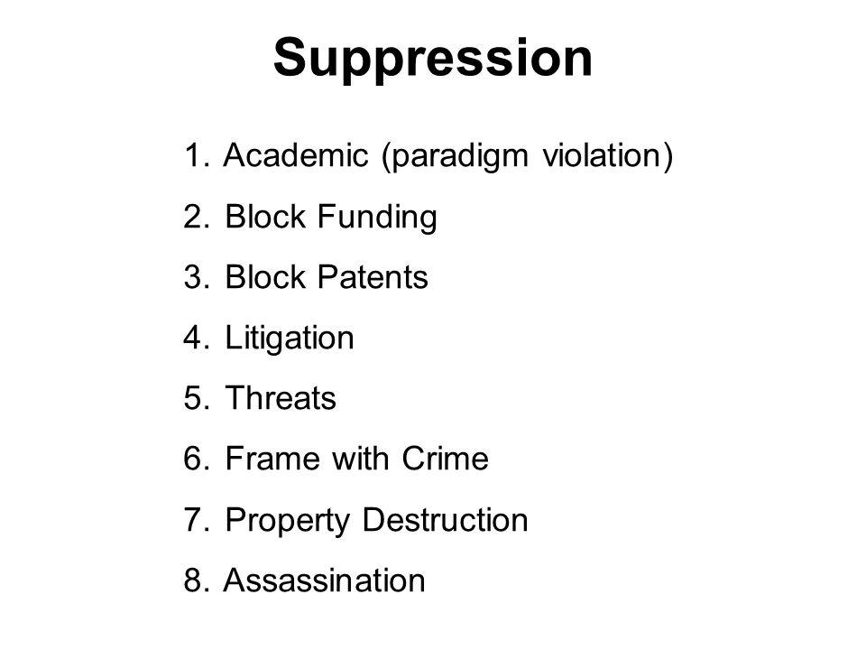 Suppression 1.Academic (paradigm violation) 2. Block Funding 3.