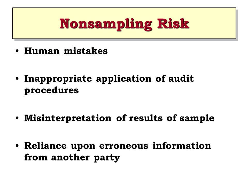 Nonsampling Risk Human mistakes Inappropriate application of audit procedures Misinterpretation of results of sample Reliance upon erroneous information from another party
