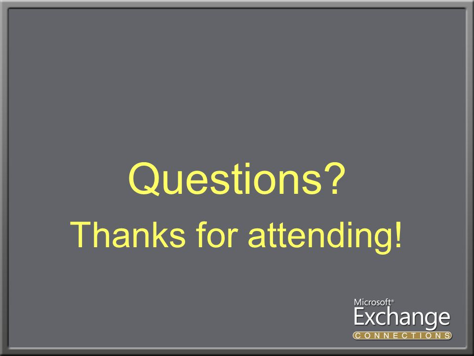 Questions Thanks for attending!