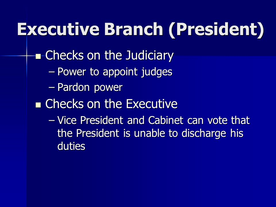 Executive Branch (President) Checks on the Judiciary Checks on the Judiciary –Power to appoint judges –Pardon power Checks on the Executive Checks on the Executive –Vice President and Cabinet can vote that the President is unable to discharge his duties