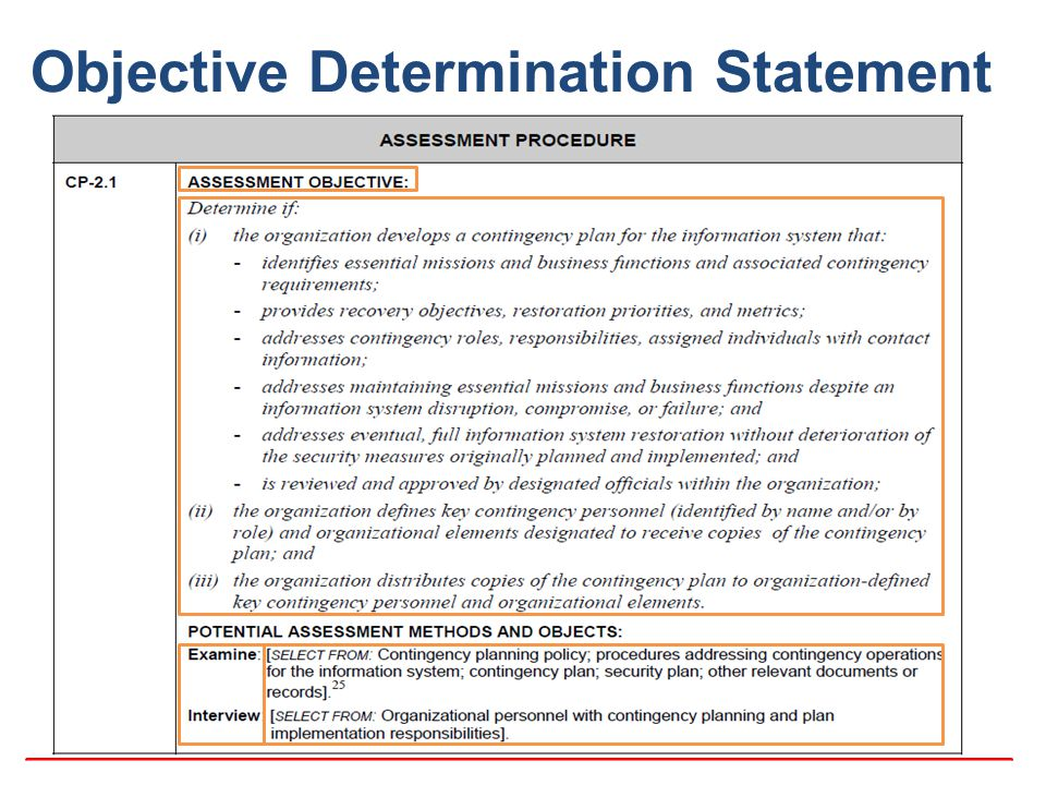 Objective Determination Statement
