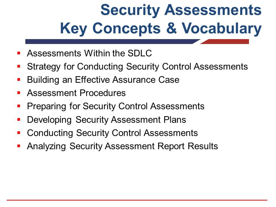Security Assessments Key Concepts & Vocabulary  Assessments Within the SDLC  Strategy for Conducting Security Control Assessments  Building an Effective Assurance Case  Assessment Procedures  Preparing for Security Control Assessments  Developing Security Assessment Plans  Conducting Security Control Assessments  Analyzing Security Assessment Report Results