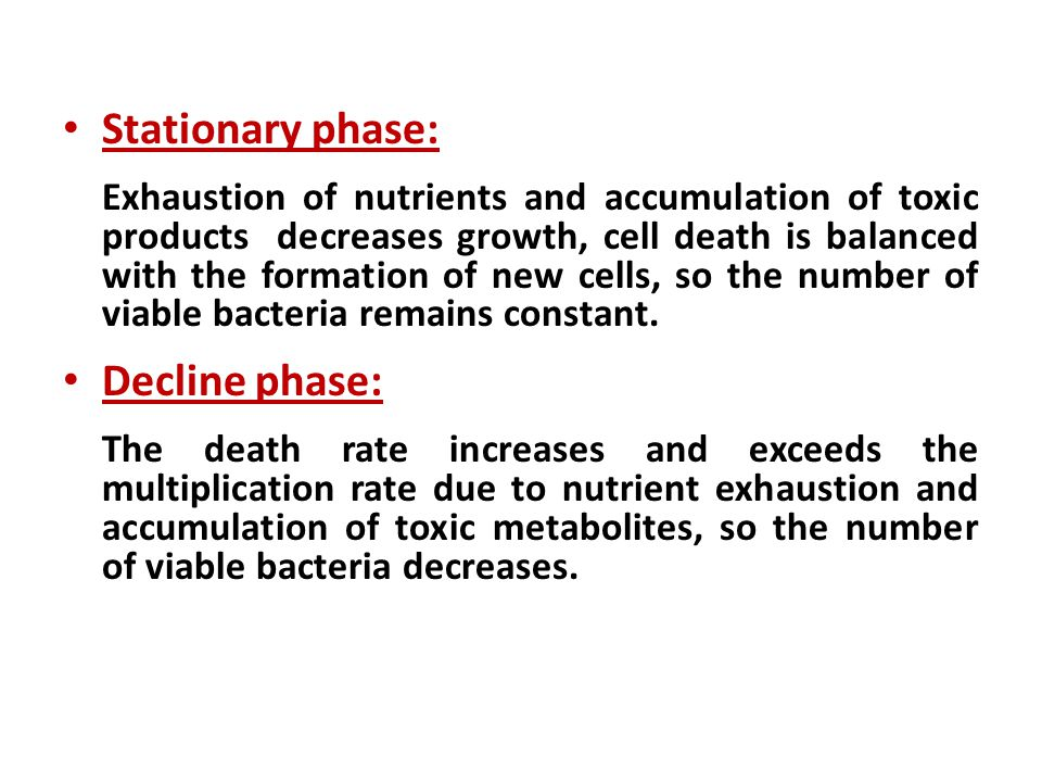 Stationary phase: Exhaustion of nutrients and accumulation of toxic products decreases growth, cell death is balanced with the formation of new cells, so the number of viable bacteria remains constant.