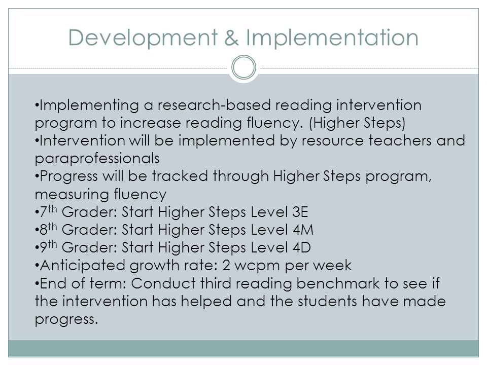 Development & Implementation Implementing a research-based reading intervention program to increase reading fluency.