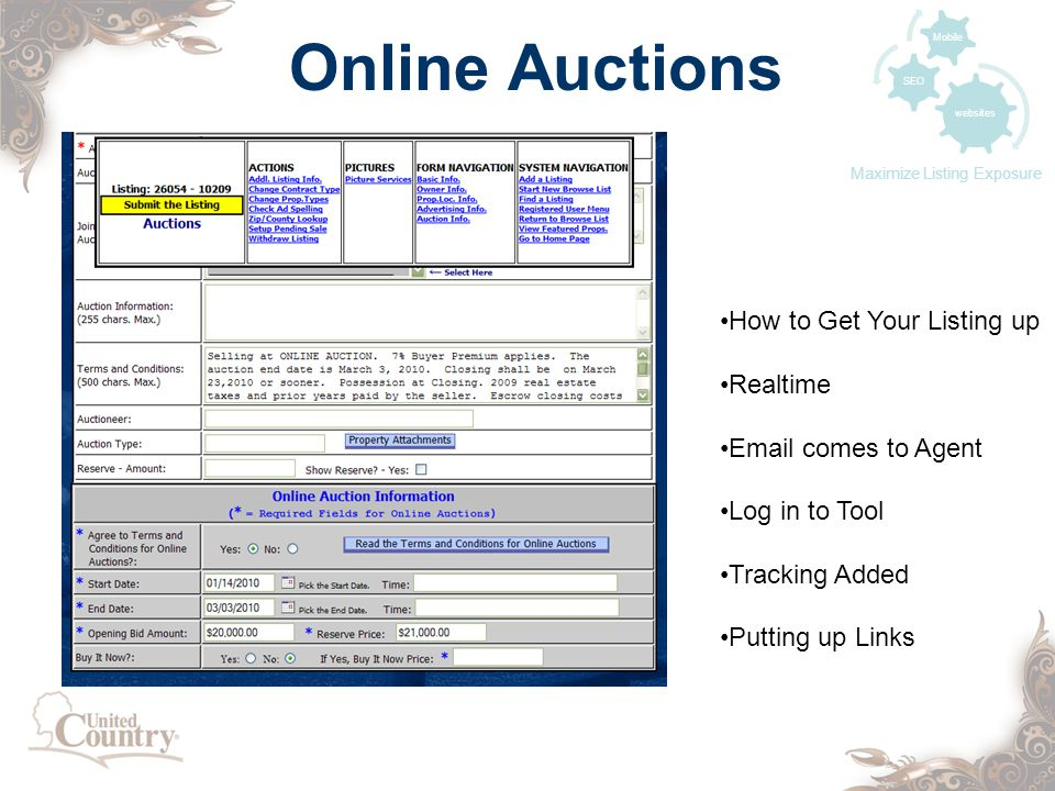 Online Auctions websites SEO Mobile Maximize Listing Exposure How to Get Your Listing up Realtime  comes to Agent Log in to Tool Tracking Added Putting up Links