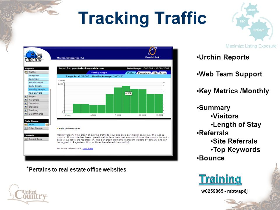 Tracking Traffic w mbtvap6j websites SEO Mobile Maximize Listing Exposure Urchin Reports Web Team Support Key Metrics /Monthly Summary Visitors Length of Stay Referrals Site Referrals Top Keywords Bounce * Pertains to real estate office websites