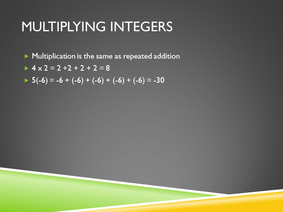  Multiplication is the same as repeated addition  4 x 2 = = 8  5(-6) = -6 + (-6) + (-6) + (-6) + (-6) = -30