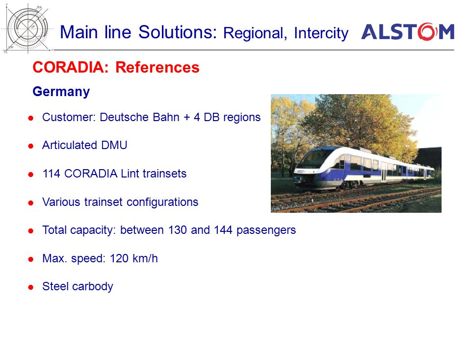 CORADIA: References Germany Main line Solutions: Regional, Intercity Customer: Deutsche Bahn + 4 DB regions Articulated DMU 114 CORADIA Lint trainsets Various trainset configurations Total capacity: between 130 and 144 passengers Max.