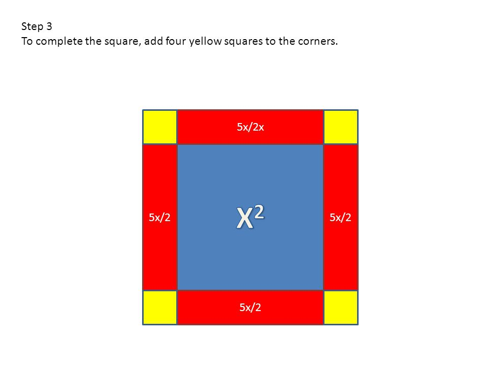 5x/2x 5x/2 Step 3 To complete the square, add four yellow squares to the corners.