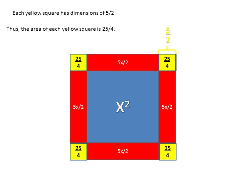 5x/2 Each yellow square has dimensions of 5/2 Thus, the area of each yellow square is 25/4.