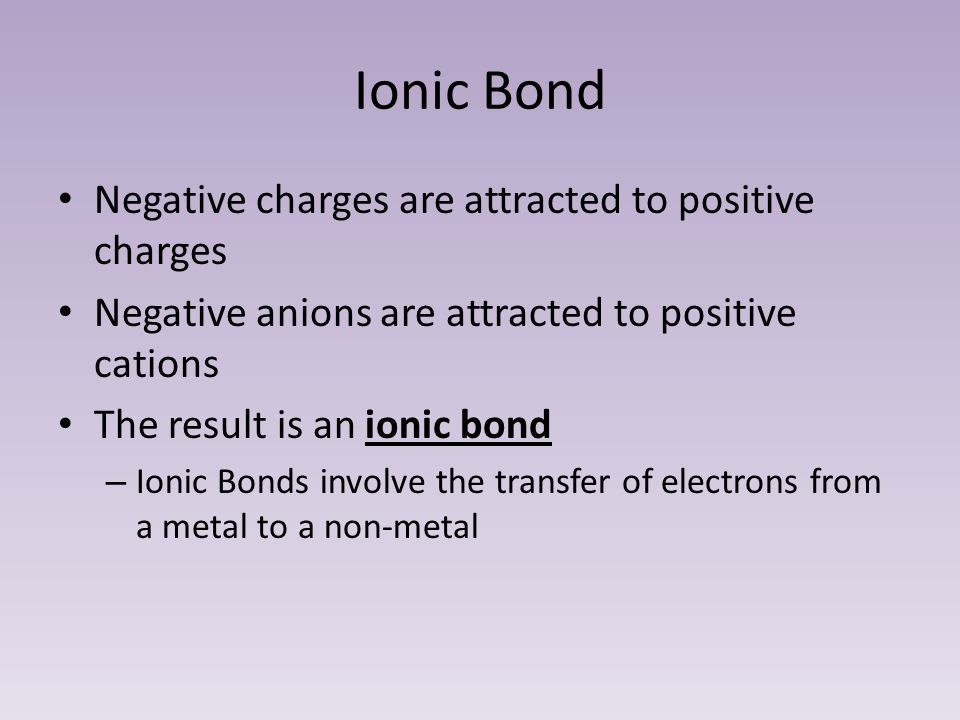 Ionic Bond Negative charges are attracted to positive charges Negative anions are attracted to positive cations The result is an ionic bond – Ionic Bonds involve the transfer of electrons from a metal to a non-metal