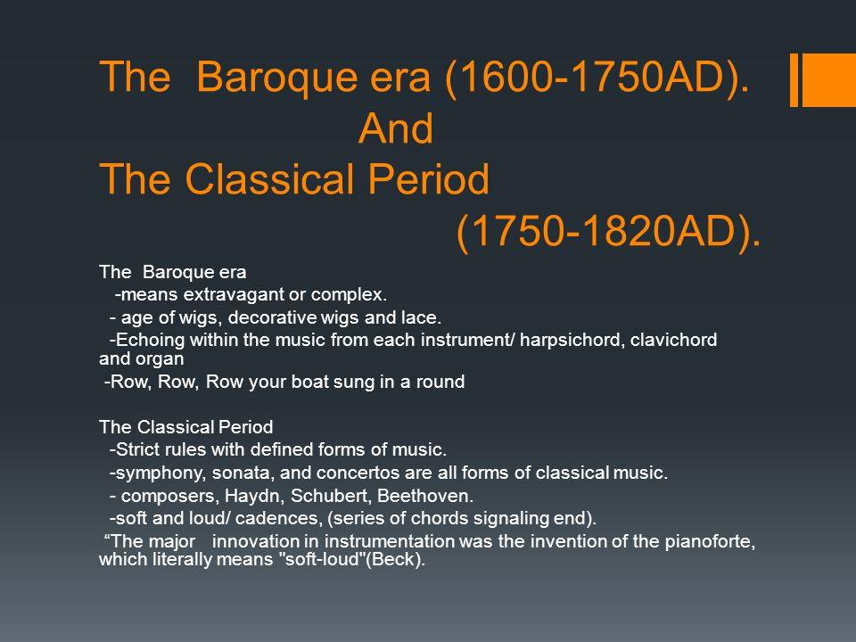 a description of the music of the baroque period from 1600 1750