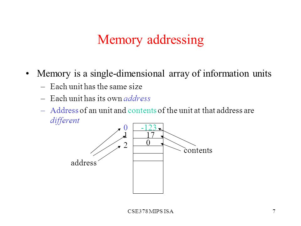 CSE378 MIPS ISA7 Memory addressing Memory is a single-dimensional array of information units –Each unit has the same size –Each unit has its own address –Address of an unit and contents of the unit at that address are different address contents