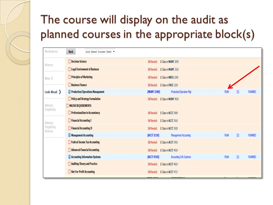 The course will display on the audit as planned courses in the appropriate block(s)