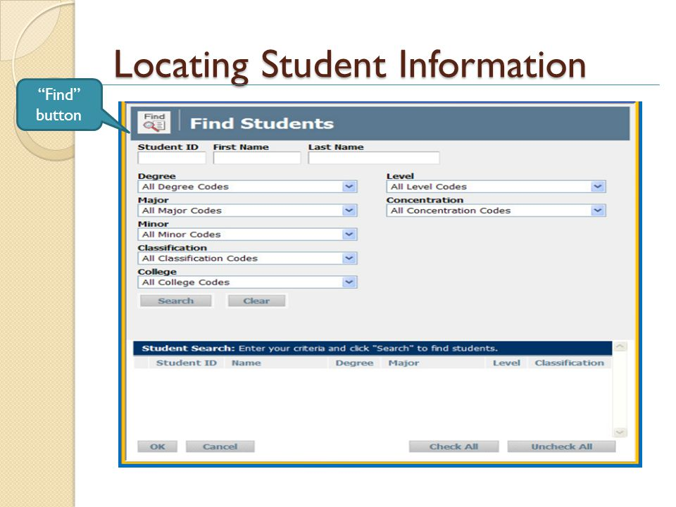 Locating Student Information Find button