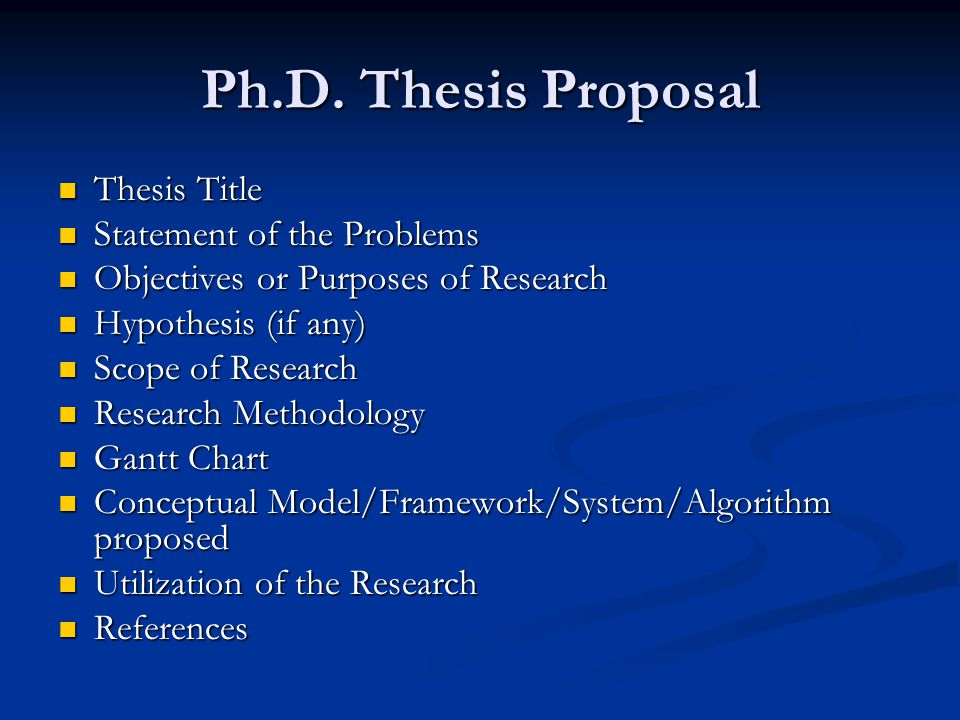 Thesis Proposal For It