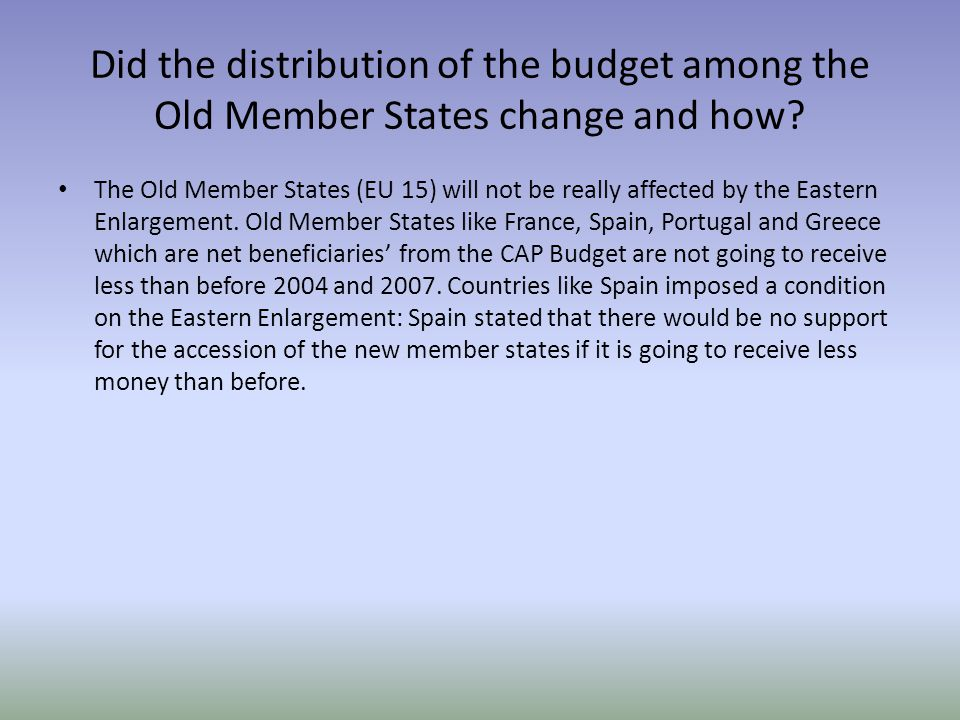 Did the distribution of the budget among the Old Member States change and how.