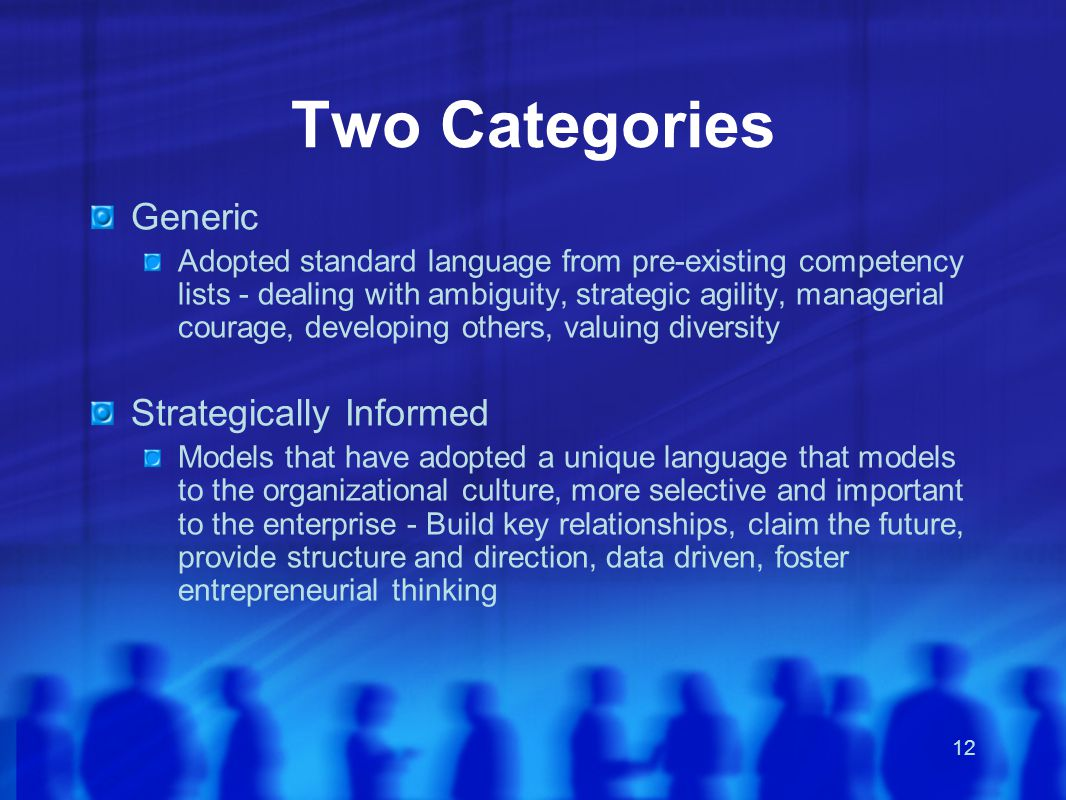 12 Two Categories Generic Adopted standard language from pre-existing competency lists - dealing with ambiguity, strategic agility, managerial courage, developing others, valuing diversity Strategically Informed Models that have adopted a unique language that models to the organizational culture, more selective and important to the enterprise - Build key relationships, claim the future, provide structure and direction, data driven, foster entrepreneurial thinking