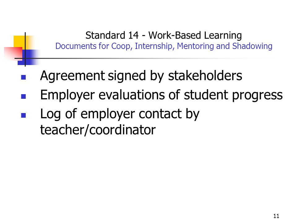 11 Standard 14 - Work-Based Learning Documents for Coop, Internship, Mentoring and Shadowing Agreement signed by stakeholders Employer evaluations of student progress Log of employer contact by teacher/coordinator