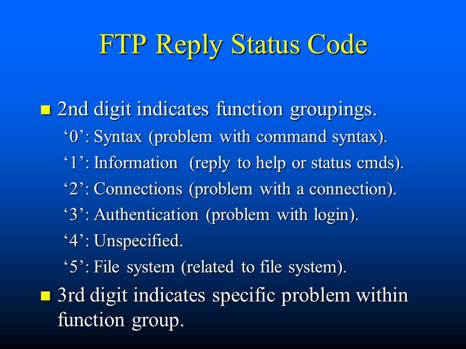 FTP Reply Status Code n 2nd digit indicates function groupings.