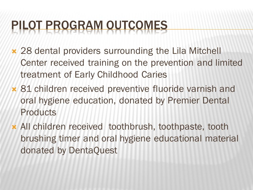  28 dental providers surrounding the Lila Mitchell Center received training on the prevention and limited treatment of Early Childhood Caries  81 children received preventive fluoride varnish and oral hygiene education, donated by Premier Dental Products  All children received toothbrush, toothpaste, tooth brushing timer and oral hygiene educational material donated by DentaQuest