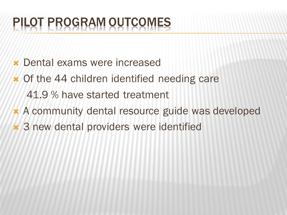  Dental exams were increased  Of the 44 children identified needing care 41.9 % have started treatment  A community dental resource guide was developed  3 new dental providers were identified