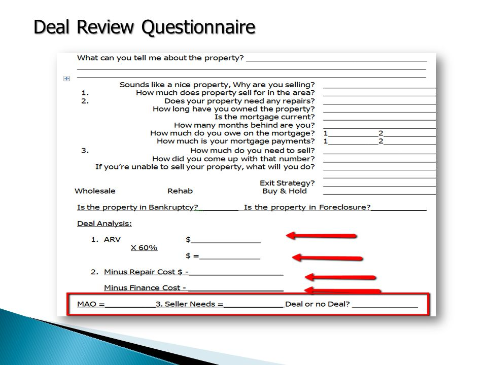 Deal Review Questionnaire