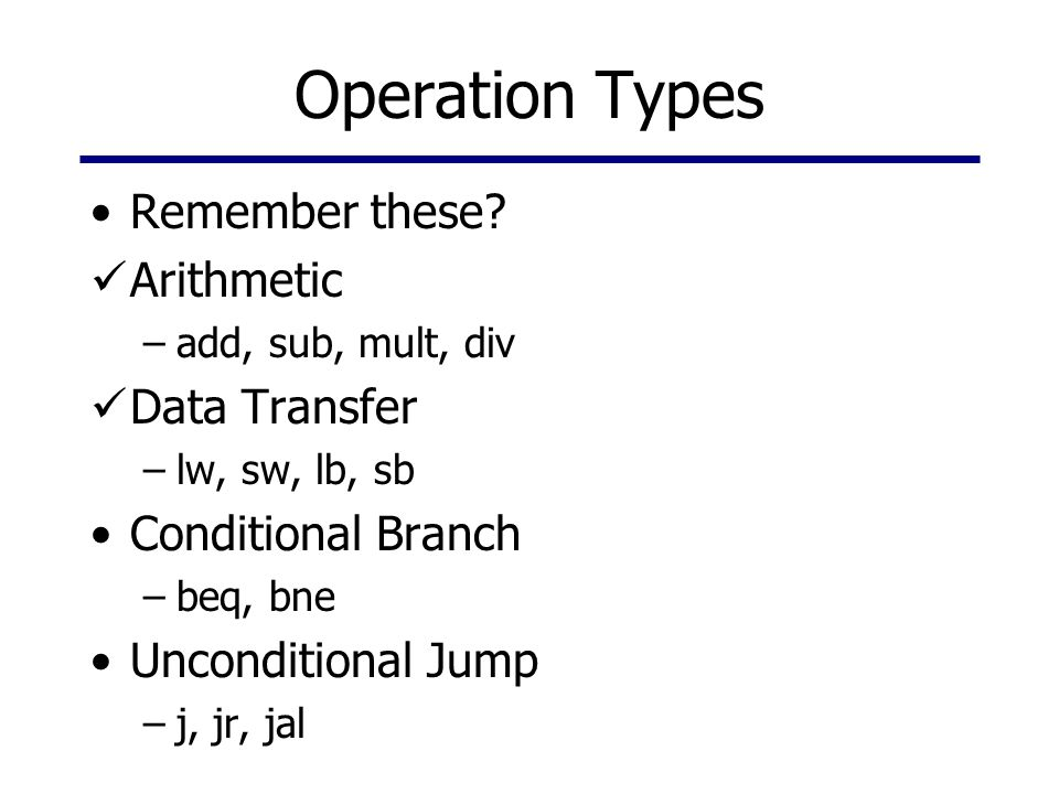 Operation Types Remember these? Arithmetic –add, sub, mult, div Data Transfer –lw, sw, lb, sb Conditional Branch –beq, bne Unconditional Jump –j, jr,