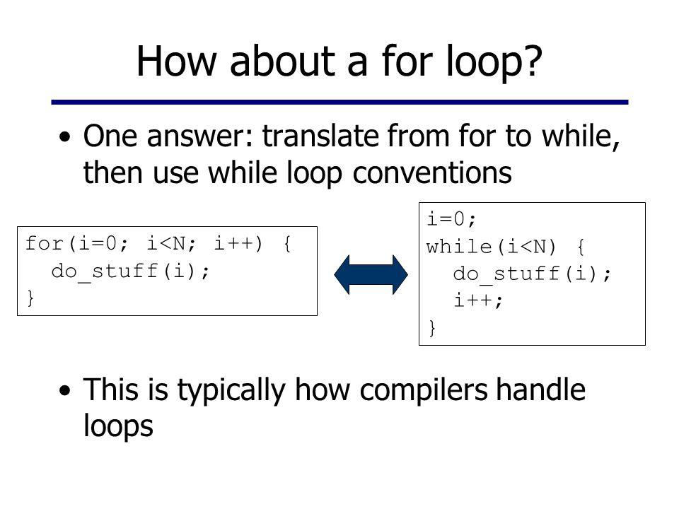 How about a for loop? One answer: translate from for to while, then use while loop conventions This is typically how compilers handle loops for(i=0; i