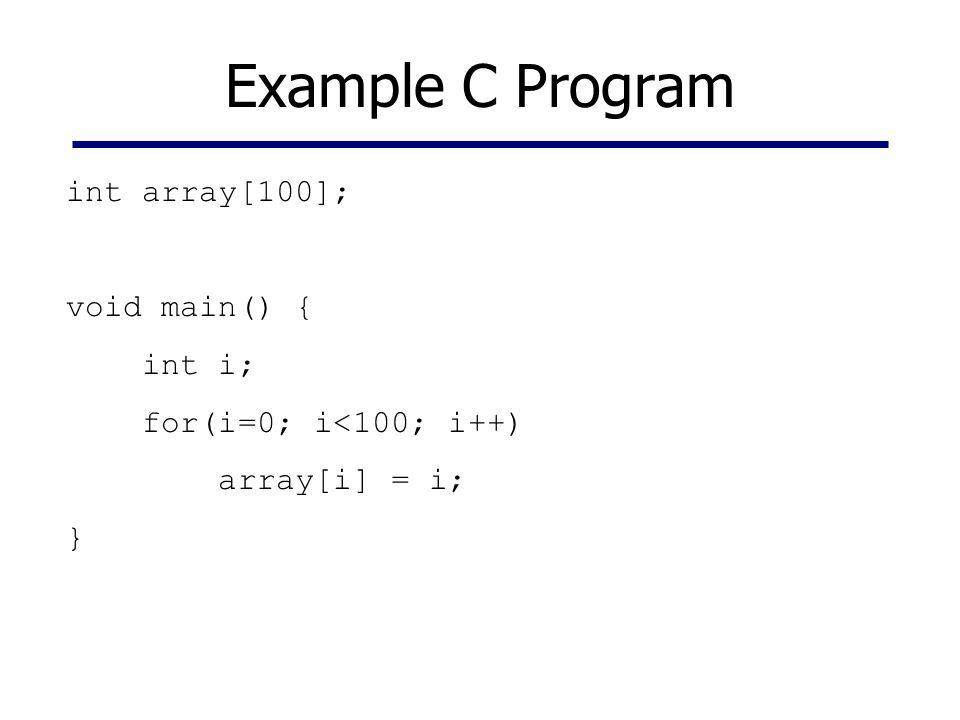 Example C Program int array[100]; void main() { int i; for(i=0; i<100; i++) array[i] = i; }