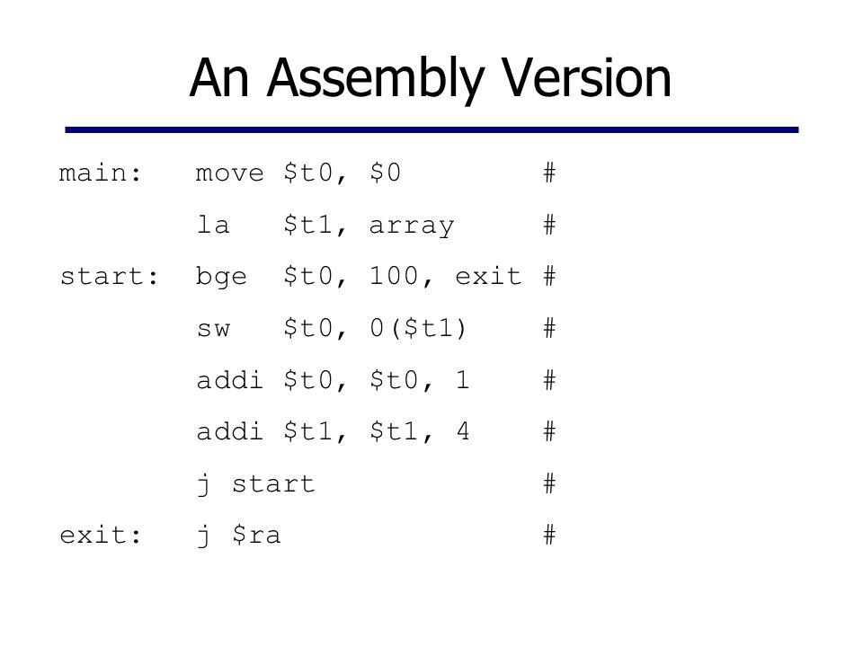 An Assembly Version main: move $t0, $0 # la $t1, array # start: bge $t0, 100, exit # sw $t0, 0($t1) # addi $t0, $t0, 1 # addi $t1, $t1, 4 # j start #
