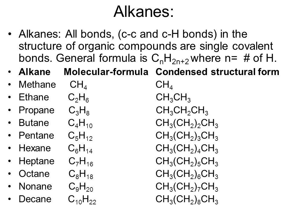 Methane Condensed Structural Formula