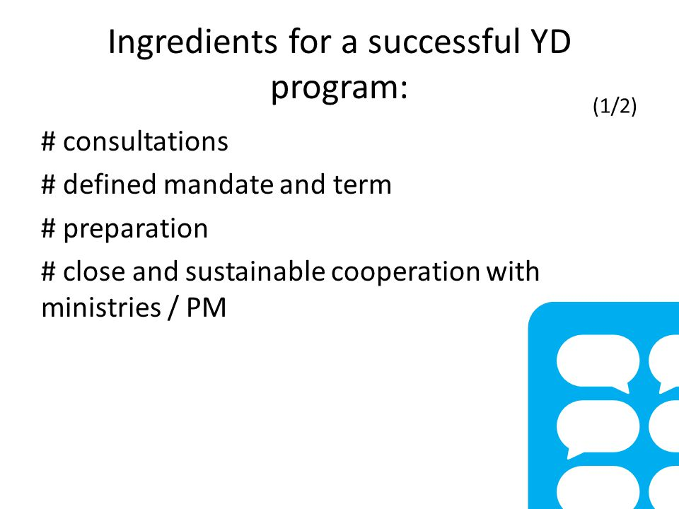 Ingredients for a successful YD program: # consultations # defined mandate and term # preparation # close and sustainable cooperation with ministries / PM (1/2)