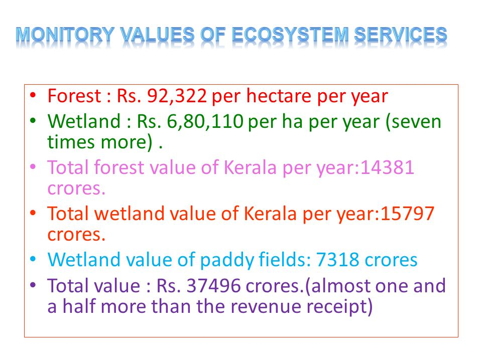 Forest : Rs. 92,322 per hectare per year Wetland : Rs.