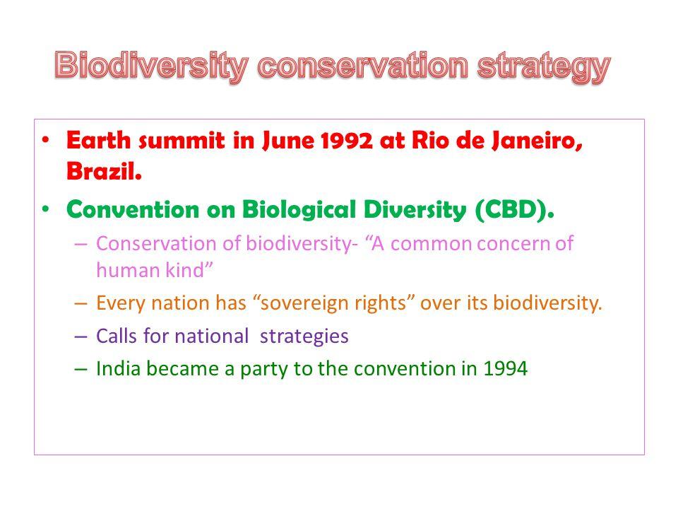 Earth summit in June 1992 at Rio de Janeiro, Brazil.