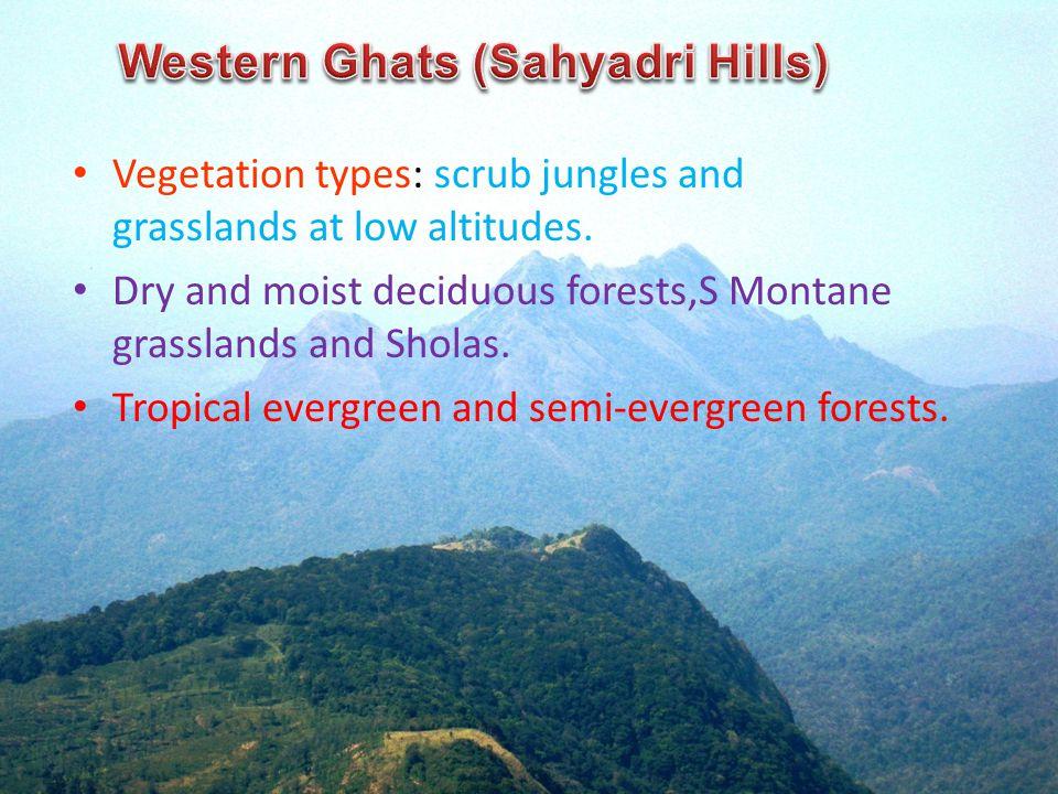 Vegetation types: scrub jungles and grasslands at low altitudes.