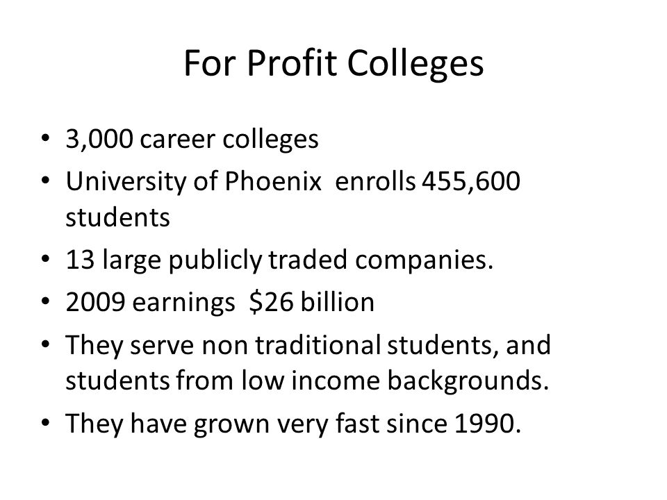 For Profit College vs Traditional College Assignments!!!!!?