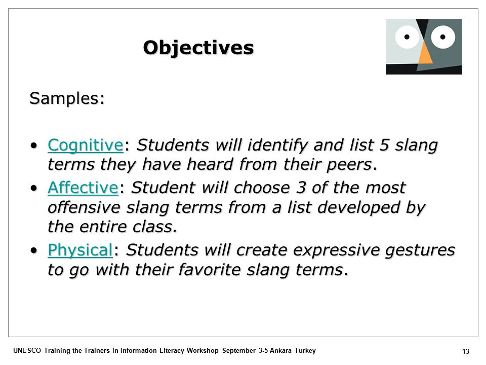 UNESCO Training the Trainers in Information Literacy Workshop September 3-5 Ankara Turkey 13 Objectives Samples: Cognitive: Students will identify and list 5 slang terms they have heard from their peers.Cognitive: Students will identify and list 5 slang terms they have heard from their peers.