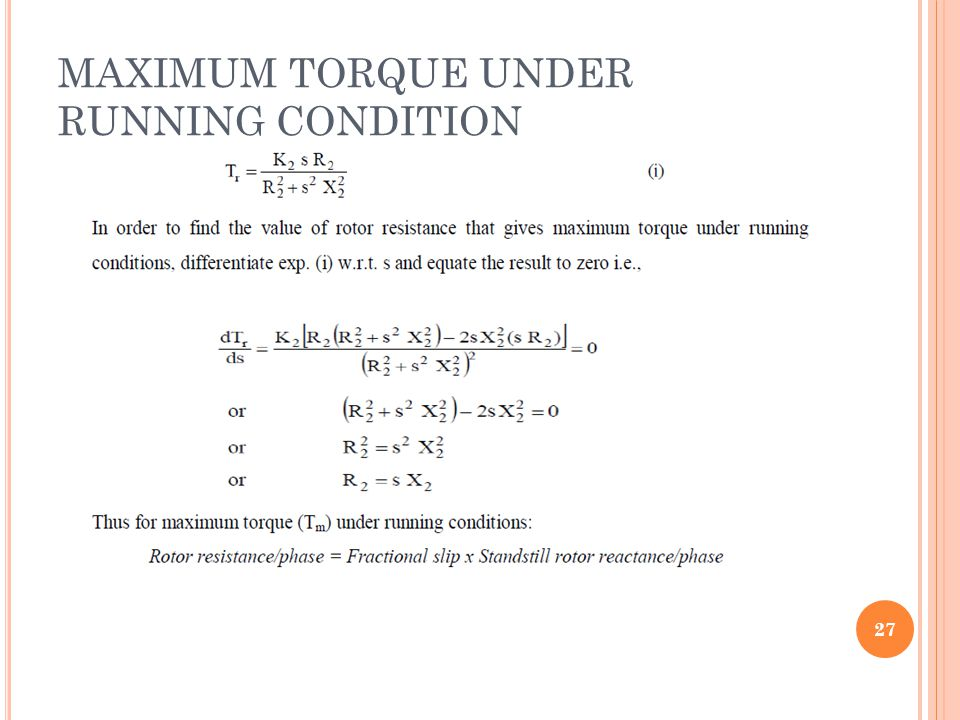 MAXIMUM TORQUE UNDER RUNNING CONDITION 27