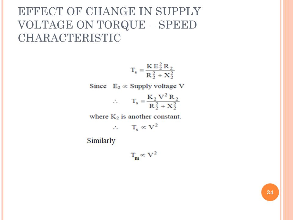 EFFECT OF CHANGE IN SUPPLY VOLTAGE ON TORQUE – SPEED CHARACTERISTIC 34