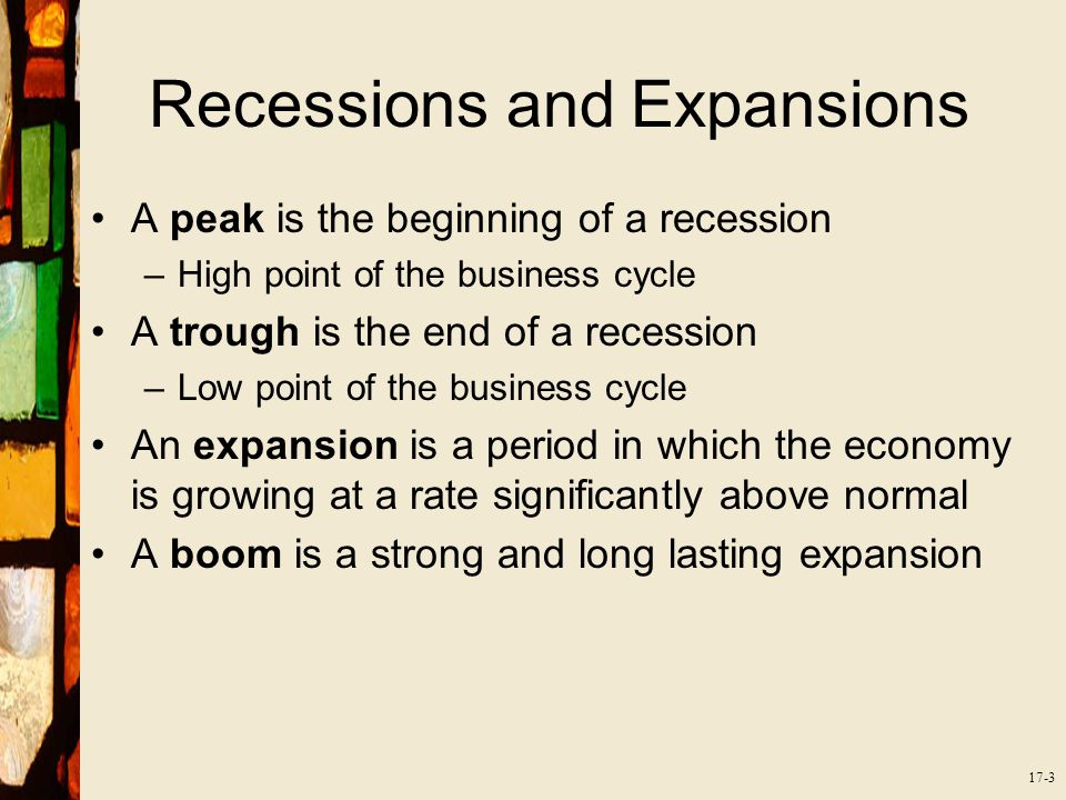 17-3 Recessions and Expansions A peak is the beginning of a recession –High point of the business cycle A trough is the end of a recession –Low point of the business cycle An expansion is a period in which the economy is growing at a rate significantly above normal A boom is a strong and long lasting expansion