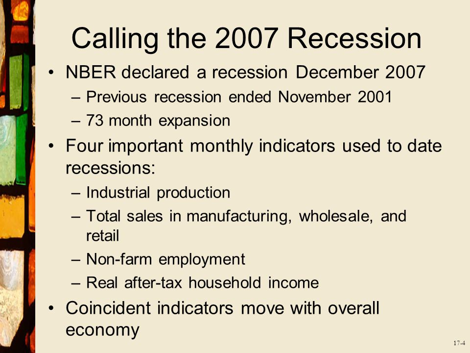 17-4 Calling the 2007 Recession NBER declared a recession December 2007 –Previous recession ended November 2001 –73 month expansion Four important monthly indicators used to date recessions: –Industrial production –Total sales in manufacturing, wholesale, and retail –Non-farm employment –Real after-tax household income Coincident indicators move with overall economy