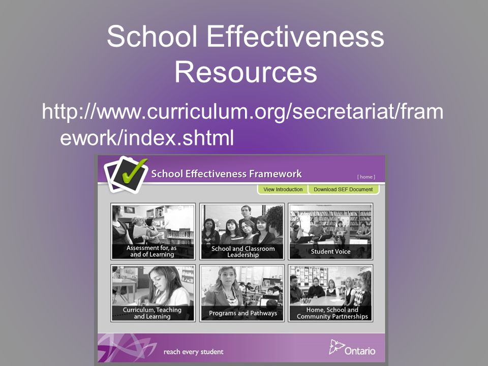 The Literacy and Numeracy Secretariat Le Secrétariat de la littératie et de la numératie October – octobre ework/index.shtml School Effectiveness Resources