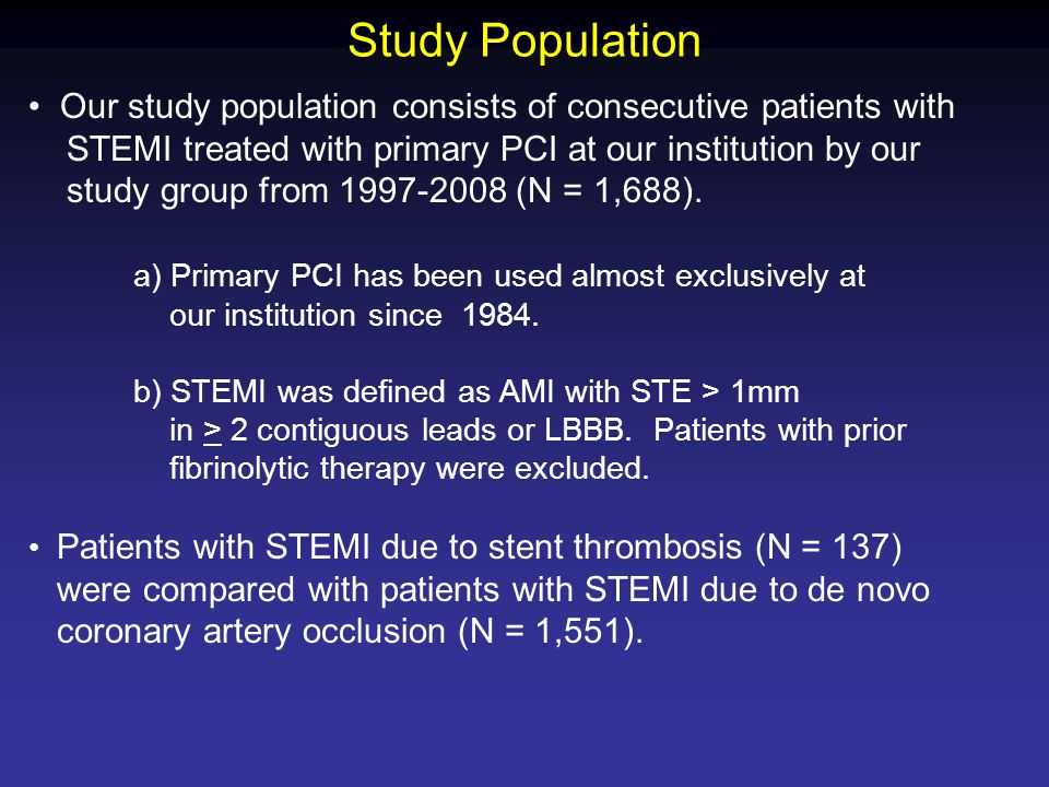 Study Population Our study population consists of consecutive patients with STEMI treated with primary PCI at our institution by our study group from (N = 1,688).