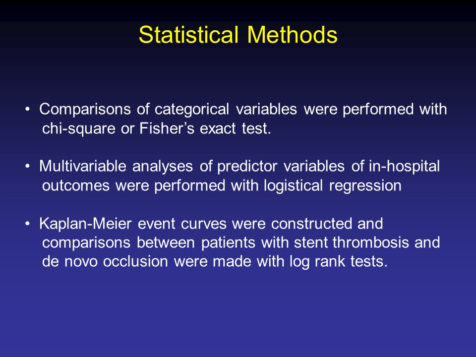 Statistical Methods Comparisons of categorical variables were performed with chi-square or Fisher's exact test.