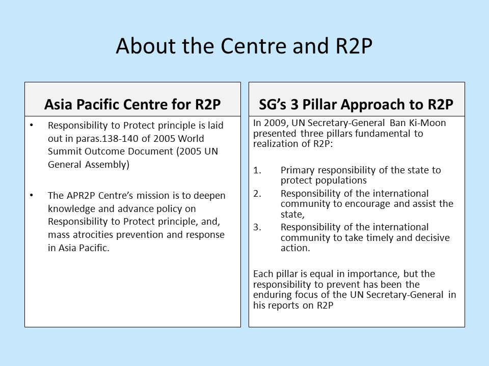 About the Centre and R2P Asia Pacific Centre for R2P Responsibility to Protect principle is laid out in paras of 2005 World Summit Outcome Document (2005 UN General Assembly) The APR2P Centre's mission is to deepen knowledge and advance policy on Responsibility to Protect principle, and, mass atrocities prevention and response in Asia Pacific.