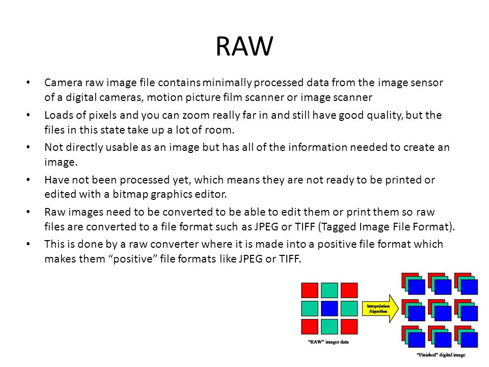 RAW Camera raw image file contains minimally processed data from the image sensor of a digital cameras, motion picture film scanner or image scanner Loads of pixels and you can zoom really far in and still have good quality, but the files in this state take up a lot of room.