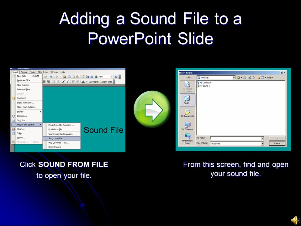 Adding a Sound File to a PowerPoint Slide Click SOUND FROM FILE to open your file.