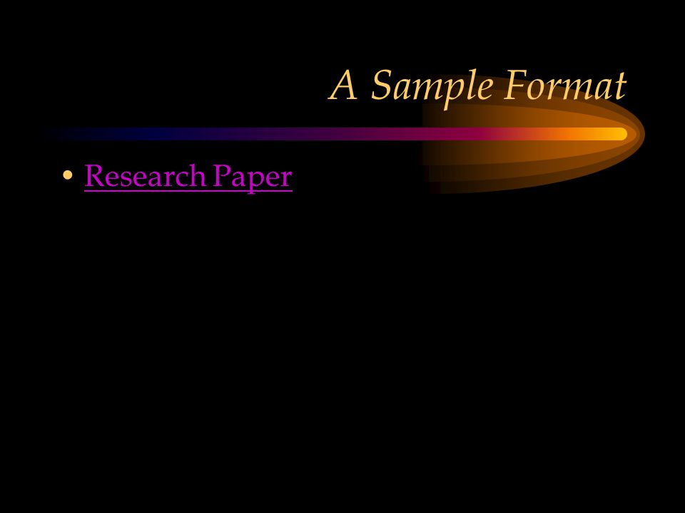 A Sample Format Research Paper